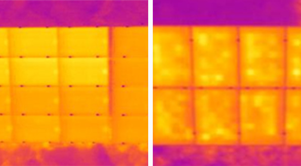 Thermographic image showing defective cell strings on commercial pv plant module