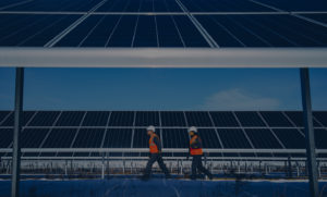 Image made with drone spezialized on photovoltaic inspections for commercial solar plants