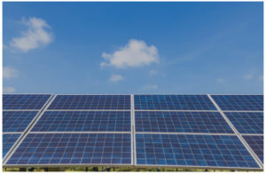 Front view of commercial solar modules powered by conergy inverters