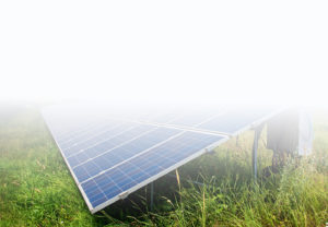 Photovoltaic modules on a field beeing inspected in the framework of a solar plant repowering project