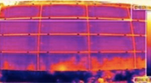 Thermographic image showing Potential-induced degradation on commercial pv plant module