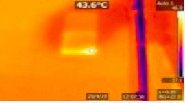 Thermographic image showing cell damage on commercial pv plant module