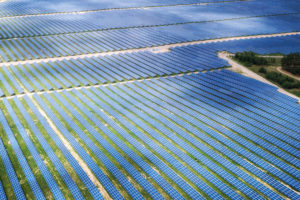 Large pv plant recorded during a thermographic inspection with a solar drone