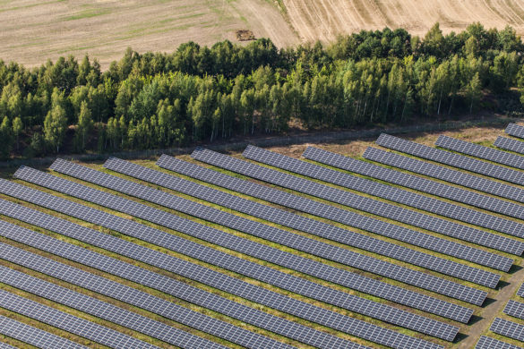 Aerial photography of a solar power plant in order to realize a shadow analysis