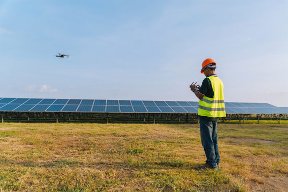 greentech engineer launching his solar drone to start a thermographic inspection
